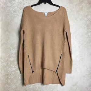 Bar lll Size Large Beige Tan Zipper Sweater Wool